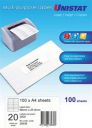 Unistat 38936 multipurpose label 20 per sheet 98x25.4mm box 100 sheets