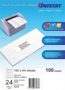 Unistat 38933 multipurpose labels 24up 70 x 36mm box 100