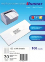 Unistat 38935 multipurpose label 30 per sheet 64x25.4mm box 100 sheets