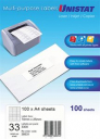 Unistat 38931 multipurpose label 33 per sheet 70x25mm box 100 sheets
