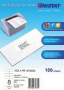Unistat 38934 multipurpose label 8 per sheet 105x74mm box 100 sheets