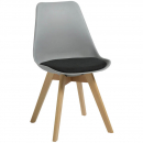 Rapidline virgo break out chair oak coloured timber leg with polypropylene shell seat grey/black