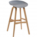 Rapidline virgo bar stool oak coloured timber frame with polypropylene shell seat grey