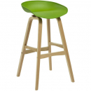 Rapidline virgo bar stool oak coloured timber frame with polypropylene shell seat lime