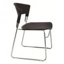 Zola plastic stacking chair linking chrome frame black