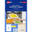 Avery 36102 L7165fy laser fluro yellow heavy duty shipping labels 8 per sheet 99.1 x 67.7mm pack 25 sheets