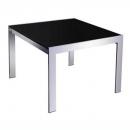 Rapid glass coffee table black glass chrome frame 600 x 600mm