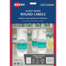 Avery 980001 L7105 laser glossy white round labels 12 per sheet 60mm diameter pack 10 sheets