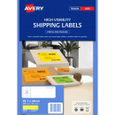 Avery 35942 L7162 laser fluro yellow address labels 16 per sheet 99.1 x 34mm pack 25 sheets