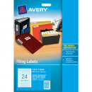 Avery 959058 L7170 laser white file spine labels 24 per sheet 134 x 11mm pack 25 sheets