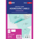 Avery 959022 L7551 laser crystal clear address labels 65 per sheet 38.1 x 21.2mm pack 25 sheets