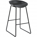 Rapidline aries bar stool black powder coated frame with polypropylene shell seat black