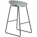 Rapidline aries bar stool black powder coated frame with polypropylene shell seat grey