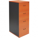 Rapidline worker filing cabinet 4 drawer lockable 465 x 600 x 1300mm beech/ironstone