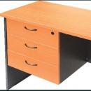 Rapid worker desk pedestal fixed 3 box drawers lockable 465 x 447 x 454mm beech/ironstone