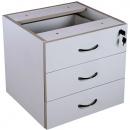 Rapid vibe desk pedestal fixed 3 box drawers lockable 465 x 447 x 454mm grey