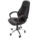 Rapidline executive chair high back single point lock with chrome base pu black
