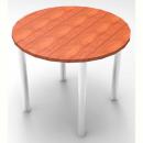 Rapid worker round chrome leg table 900mm cherry
