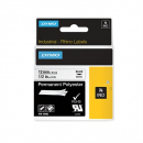 Dymo 18483 rhino label tape 12mm permanent polyester black on white