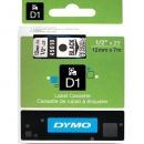 Dymo D1 label tape 12mm black on clear