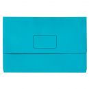 Marbig slimpick document wallet foolscap bright marine blue pack 10
