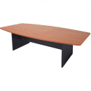 Rapid worker boat shaped boardroom table ironstone base 2400 x 1200 x 730mm cherry/ironstone
