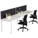 Rapid infinity 2 person single sided modular profile leg workstation with screens 1500 x 700mm white