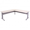 Rapid span c leg desk and return metal modesty panel 1800 x 700 / 1100 x 600mm white/silver