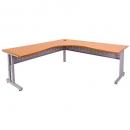 Rapid span c leg corner desk metal modesty panel 1800 x 1200 x 700mm beech/silver