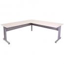 Rapid span c leg corner desk metal modesty panel 1800 x 1500 x 700mm white/silver