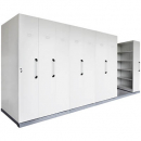 Rapidline mobile shelving 8 bays 4450 x 1280 x 2150mm silver grey