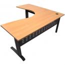 Rapid span corner desk metal modesty panel 1800 x 1800 x 700mm beech