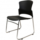 Zing link chair with chrome sled base poly seat and black back