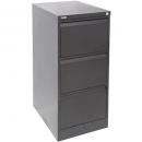 Go steel filing cabinet 3 drawer 460 x 620 x 1016mm graphite ripple