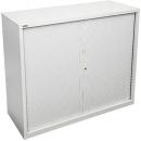 Go steel tambour door cupboard 2 shelves 900 x 473 x 1016mm white china