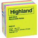 Highland self-stick notes 76 x 76mm assorted colours pack 5