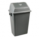 Italplast waste bin heavy duty with swing top lid 58 litre grey