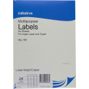Initiative multipurpose labels 24 per sheet 64 x 33.8mm box 100 sheets