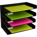 Italplast 4 tier metal desk organiser black