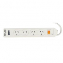 Italplast I 526 power board 4 outlet 2 usb charger white
