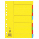 Marbig divider manilla A4 10 tab extra wide bright