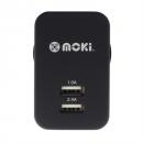 Moki dual usb wall charger black