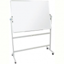 Rapidline mobile whiteboard double sided pivoting with pen tray and stand 1200 x 900mm