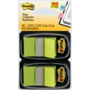 Post-it flags bright green twin pack 100