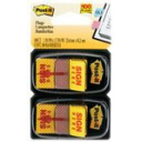 Post-it message flags sign here yellow twin pack 100