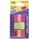 Post-it durable tabs 3 colours pink green orange pack 66