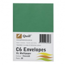 Quill 93006 coloured envelope C6 pack 25 emerald