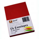 Quill 93010 coloured envelopes C6 pack 25 red