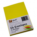 Quill 93019 coloured envelopes C6 pack 25 lemon