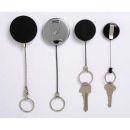 Rexel retractable key holder metal with keyring and cord black
